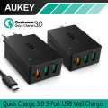 AUKEY USB Charger Quick Charge 3.0 3-Port USB Wall Charger for LG G5 Samsung Galaxy S7/S6/Edge Nexus 6P/5X iPhone 7 Plus iPad