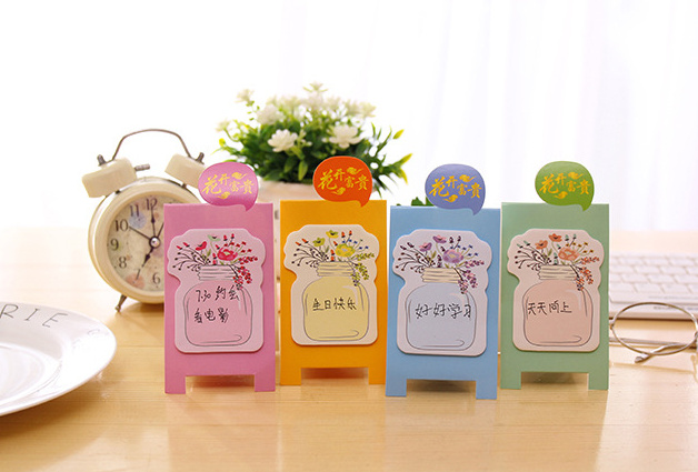 Kawaii Blooming Bottle flowers Sticky Notes Memo Pad Post It Planner Stickers sticky Bookmark office School Supplies papelaria