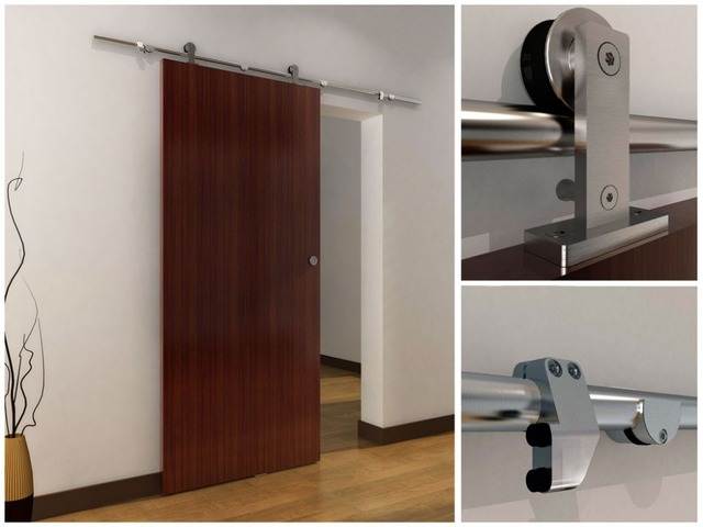 6.6 FT Sliding Barn Wood Door Top Mounted Stainless Steel Sliding Track  Hardware Safety Pin Roller