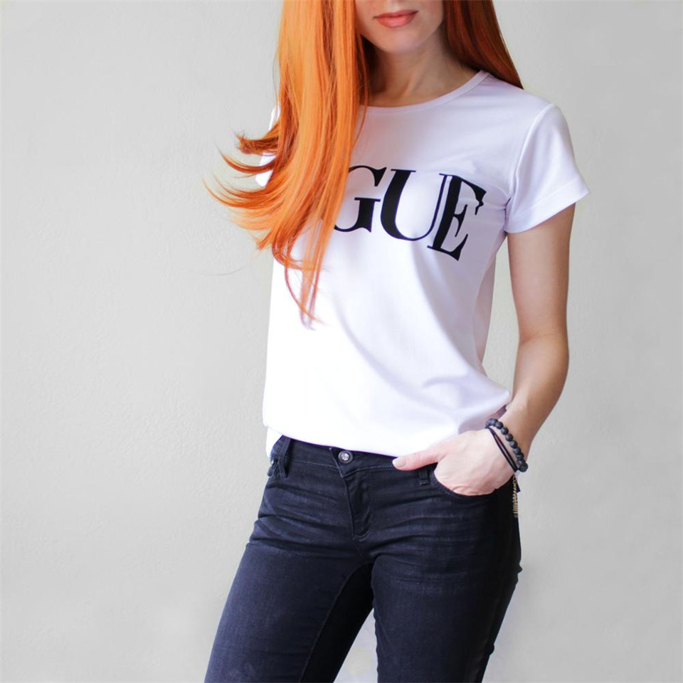 2018 New VOGUE Women's Clothing Milk White Pure color Short Sleeve women's tshirt Cotton Female T shirt Letter Print Casual tops