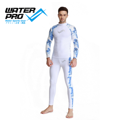 Water Pro Galaxy Black / Tempera White Rash Guard Set Sun Protection UPF 50+ Jersey Water Sports Swimming Surfing Scuba Diving