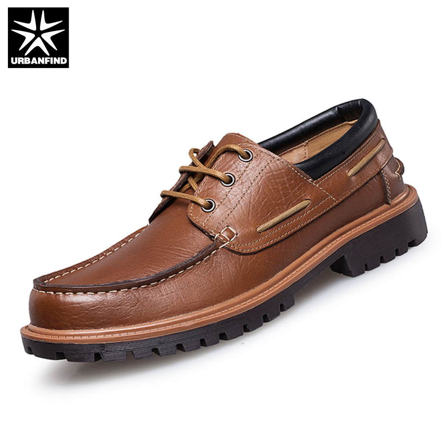 New Fashion Punk Style Urban Men Leather Shoes Retro Lace Up Hand Sewing Men Boat Shoes