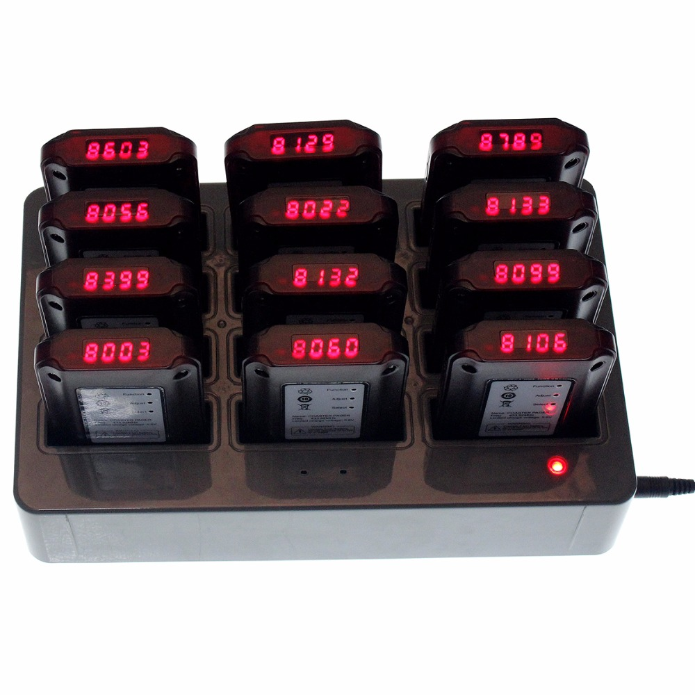 Restaurant Pager Wireless Paging Queuing System with 1 Transmitter+12 Coaster Pagers Chargeable Restaurant Equipment F4493C digital restaurant pager system 1 monitor with 15pcs table buzzer button wireless equipment with ce