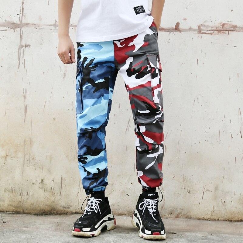 Pink Streetwear Casual Mode 2018 Hip Camo Cargo Coton Tactique Blue Pantalon Multi Hommes red Hop De Poches Baggy Gray Orange yellow wvZwFX6qx