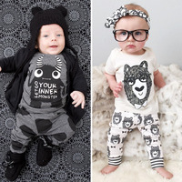 2017 Brand Children S Clothing Short Sleeve T Shirt Pants Baby Boy Pajamas Set Cute Black