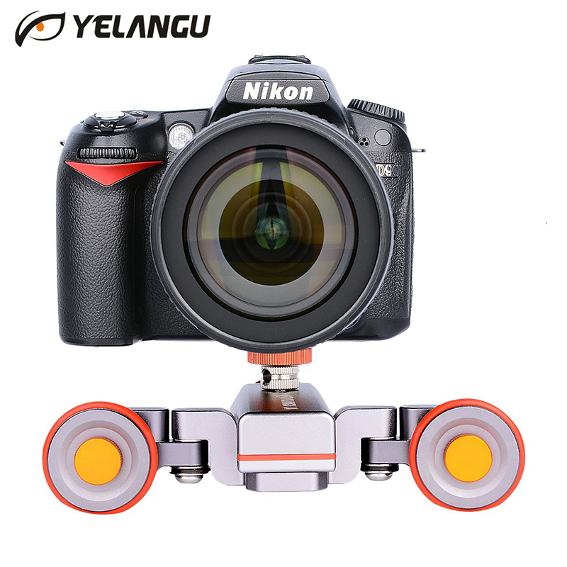 цена Yelangu L4 Motorized Dolly Wireless Remote Control Wheel Pulley Car Rail Track Dolly Slider for iPhone DSLR Camera Smart Phone