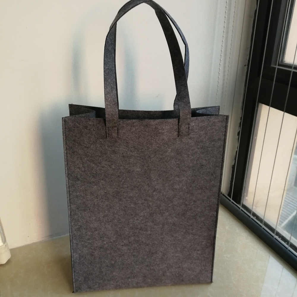 8ef4418323 2pcs lot 35x45Hx15cm Blank Grey Felt Tote Bag Eco-friendly Felt Shopping Bag  Solid