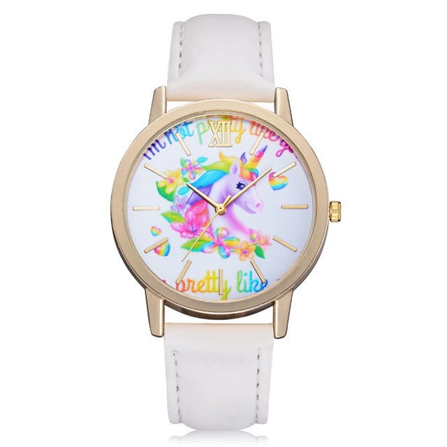 Fashion Cute Animal Kids Girls Watches Vogue Simple Leather Band Analog Alloy Qu