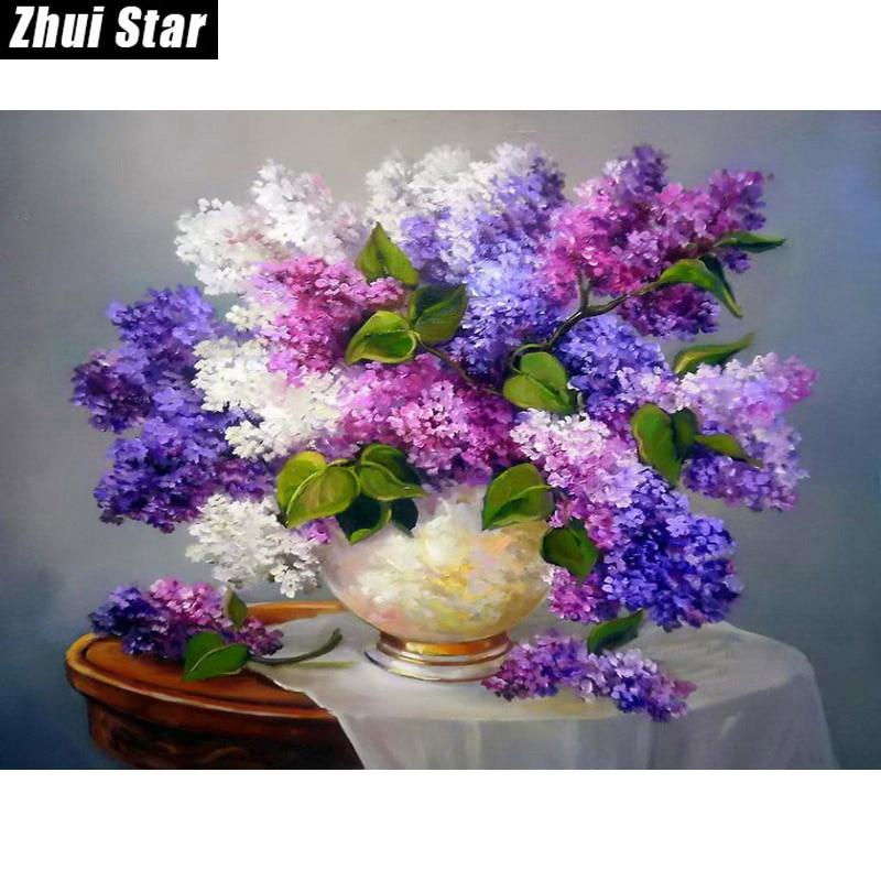 5D DIY Diamantmålning Needlework Square Full Diamond Broderi Lila Lilac Flower Vase Måla Mönster Heminredning Present
