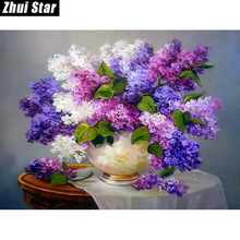 5D DIY Diamond Painting Needlework Square Full Diamond Embroidery Purple Lilac Flower Vase Painting Pattern Home Decor Gift
