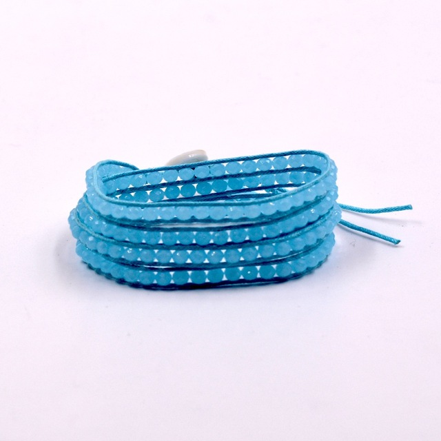 4mm light blue Crystal 4 Wrap Bracelet on Leather Charm Bracelet Handmade Jewelry Cuff bangle