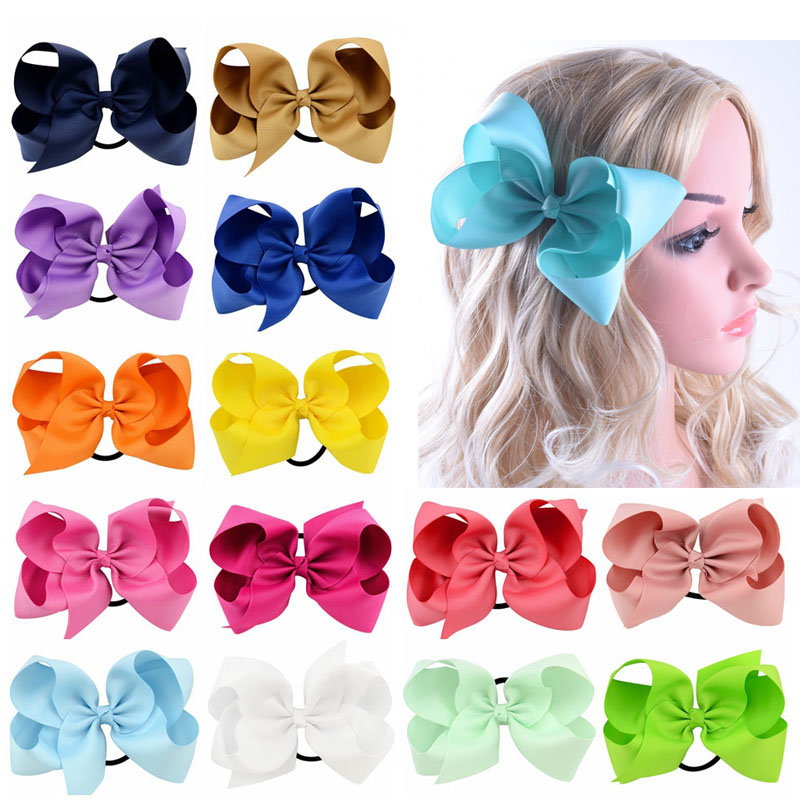 20pcs/lot 6 Big Solid Ribbon Bows With Elastic Bands Girls Large Grosgrain Bow Headband Hair Ties Boutique Hair Accessories grosgrain ribbon kids boutique hair bow alligator clip toddlers elastic hair rubber bands hair ties girls hair accessories z21