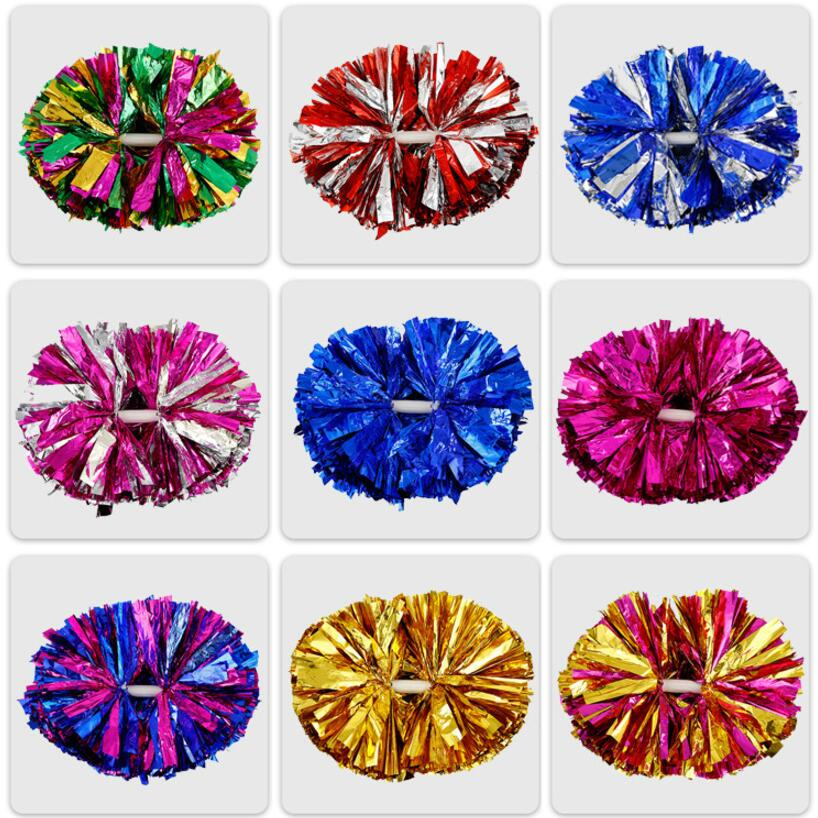 35CM Game Pompoms Cheering Cheerleader Pom Poms Supplies PVC Pompons 90 Gram 6 Pcs