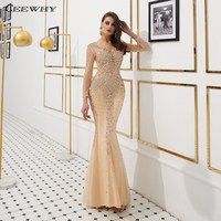 CEEWHY длинное вечернее платье с длинными рукавами, украшенное кристаллами, платье на выпускной, вечернее платье Дубай Кафтан Вечернее платье