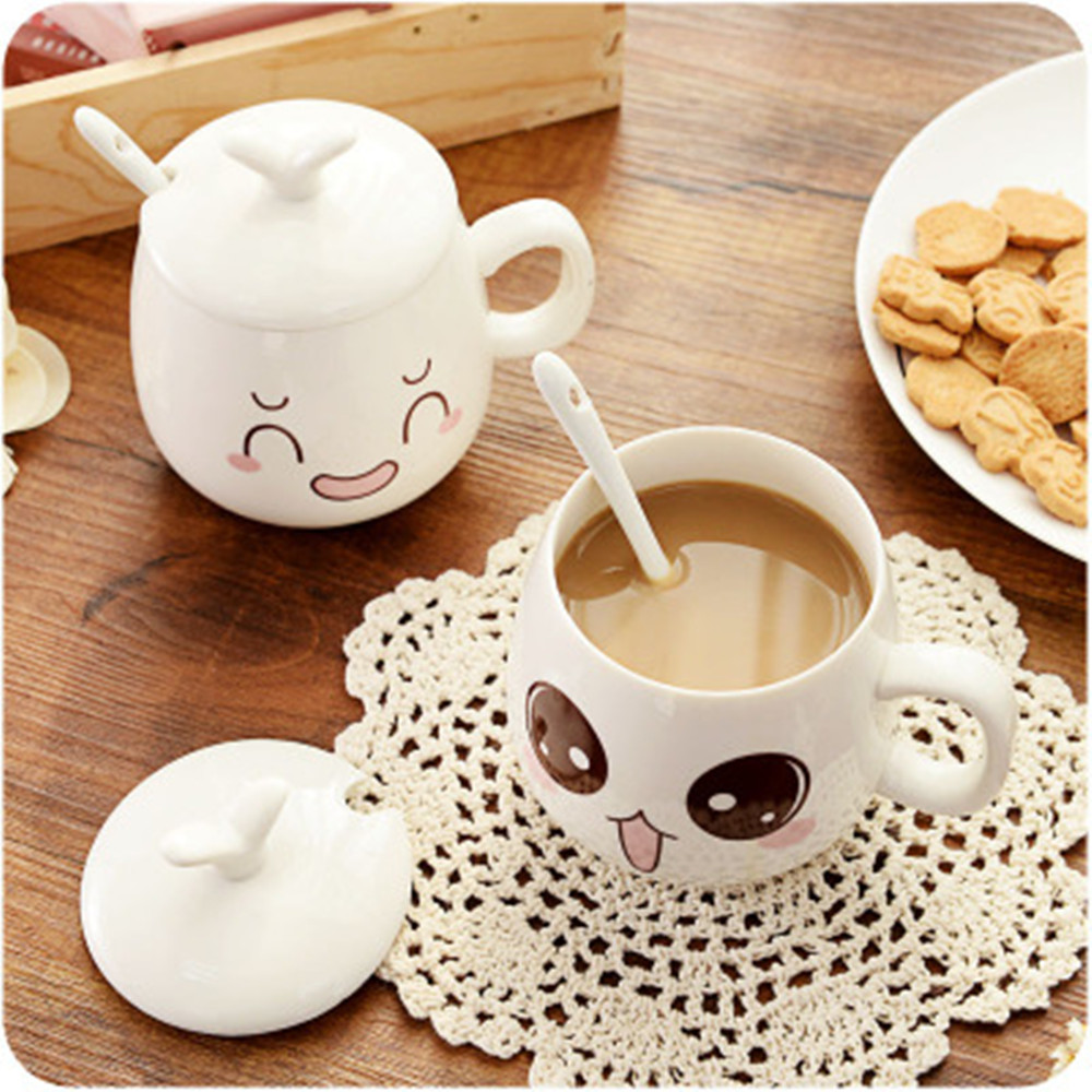 Cups and mugs hot sales 1pc milk mugs with cover coffee cup cute expression cups tea cup nice gifts cute coffee mugs