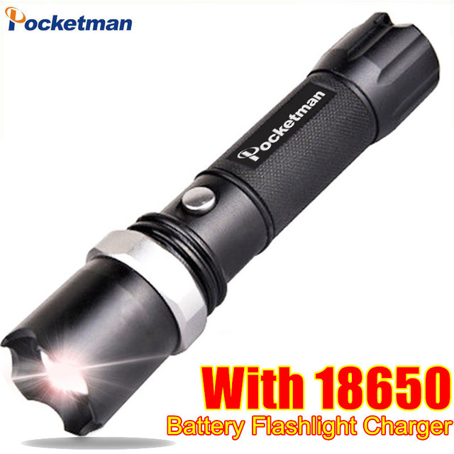 FT17 LED Flashlight XM-L T6 3800LM Aluminum Waterproof Zoomable flashlight Torch 5modes for 18650 Rechargeable Battery or AAA