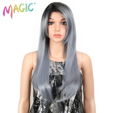 MGAIC Hair Long Wig High Temperature Synthetic Wigs 22Inch  For Black Women Silver grey Heat Resistant