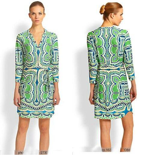 Couture automne avec la mode italienne synchronisation vert impression ceinture v-cou élastique tricot mince robe code