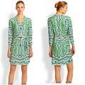 Couture autumn with Italian fashion synchronization green printing belt v-neck elastic knitting slim dress code
