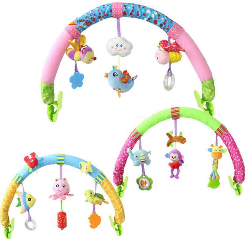 Newborn Baby Stroller Car Clip Hanging Seat & Stroller Toys Ocean Forest Sky Flying Animal mobile Rattle toy