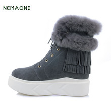NEMAONE Fashion Women's Winter Snow Boots Warm Long Boots Genuine Cow Leather High Winter Boots Women Shoes
