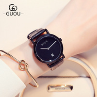 New Fashion Brand unique Ladies Watch Women Full black Leather Strap Quartz Wristwatch 30M Waterproof Clock Relogio feminino Women Quartz Watches