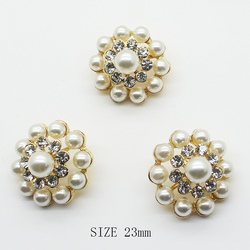ZMASEY Metal Buttons For Clothing 10pcs/lot 23mm Alloy Shank Diamond Buttons Sewing Gold  Decoration Pearl Sale Price