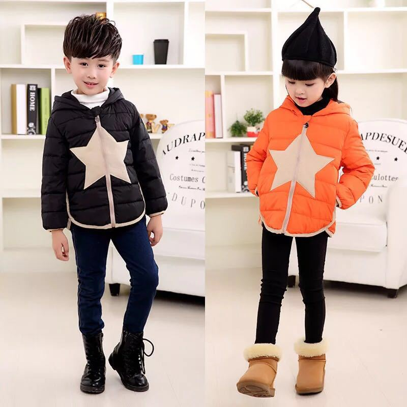 hin paragraph 2016 autumn and winter baby clothing, boys and girls down cotton clothes, kids warm jacket coat for 6-12T