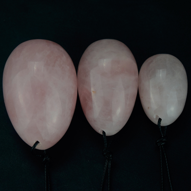 Drilled Natural Rose Quartz  Yoni Eggs for Women