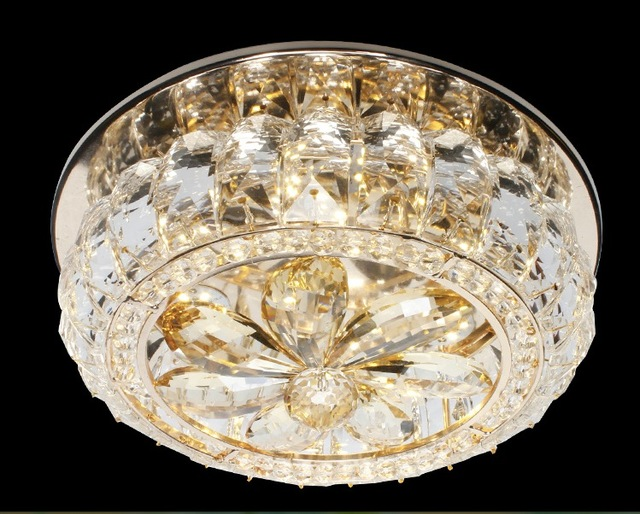 Slaapkamer Lamp Plafond : Goud d250mm led ronde kristal plafondlamp woonkamer lamp led plafond