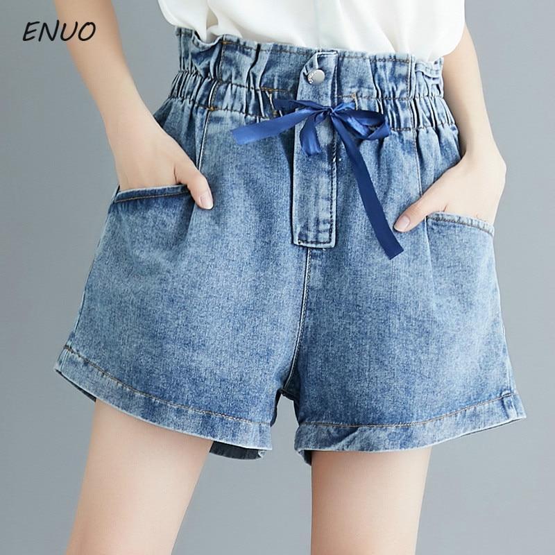 Plus Size Streetwear Summer Women Cotton Denim Shorts Elastic High Waist Wide Leg Shorts Jeans Blue Ribbon Bow-knot Short Femme