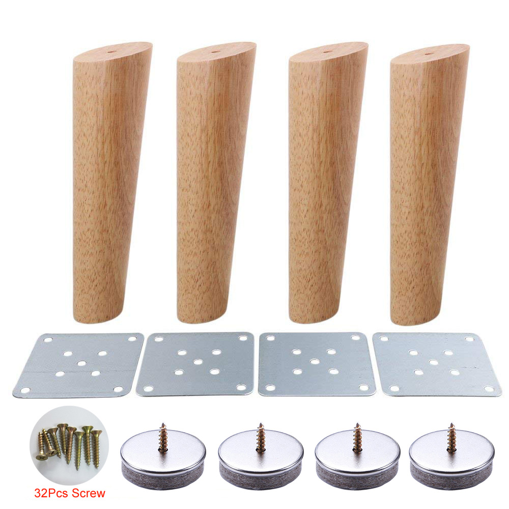 4pcs Furniture Leg Oblique Tapered 20cm Height Oak Wood Furniture Cabinets Legs Sofa Feets And Mounting Hardware