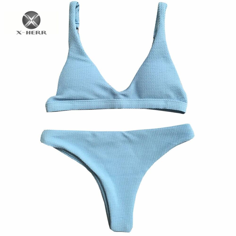 X-HERR Venta caliente otoño crochet bikini mujeres correa ajustable no underwire biquini infantil triángulo almohadillas extraíble bikini 2017
