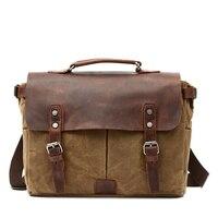 15.6 Inch Messenger Bag for Mens Vintage Canvas Leather Laptop Messenger Bags Men Business Briefcase Vintage Large Shoulder Bag