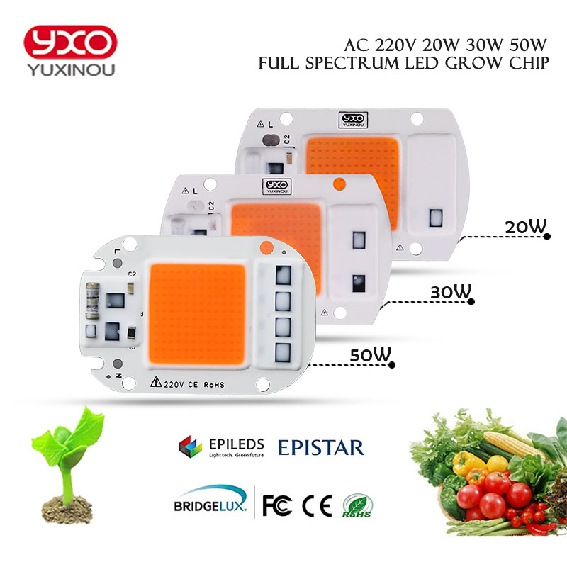 1PCS Led Grow Light Chip 20W 30W 50W 230V Full Spectrum 380nm~780nm Best For Hydroponics Greenhouse Grow DIY For LED Lamp