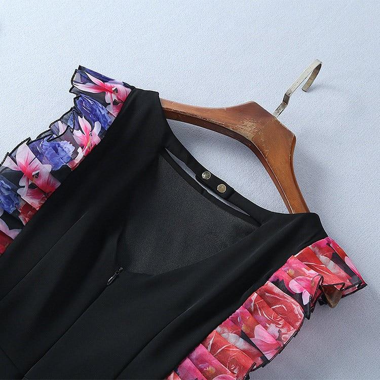 Ruché Fente Vente Salopette Retour Cou Papillon Manches V Pantalon Femme Noir Closured Halter Sexy Combinaisons Bouton Évider qw8f4P