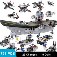 751PCS Aircraft Battle Group Building Kits Blocks 8 in 1 Aircrafted Carrier Military Ship Bricks Toy Compatible