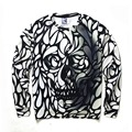 3D Abstract Hoodies Mens Novelty Sweatshirt Personality Skull Print Hoodie White and Black Sweat Homme Skeleton Top Tees