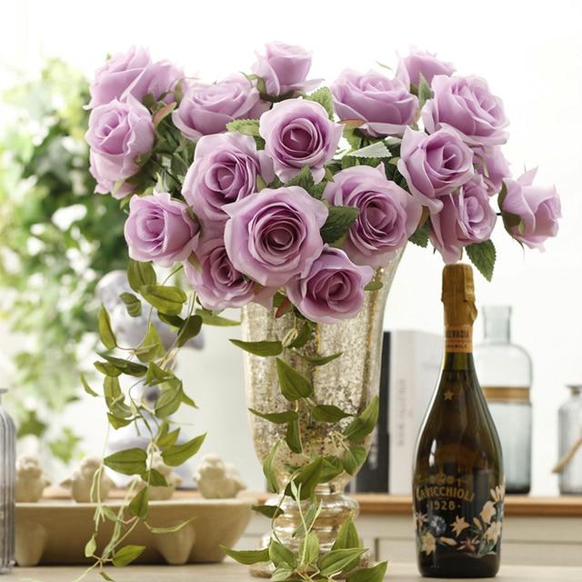 Zinmol Artificial Silk 1 Bunch French Rose Fl Bouquet Fake Flower Arrange Table Daisy Wedding Flowers