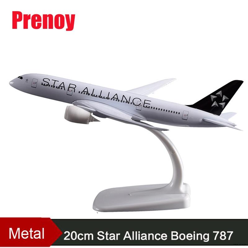 20cm Boeing B787 Star Alliance Airways Model Boeing 787 Airplane Airbus Star Alliance Alloy Aircraft Model Creative Gift Toys model aircraft