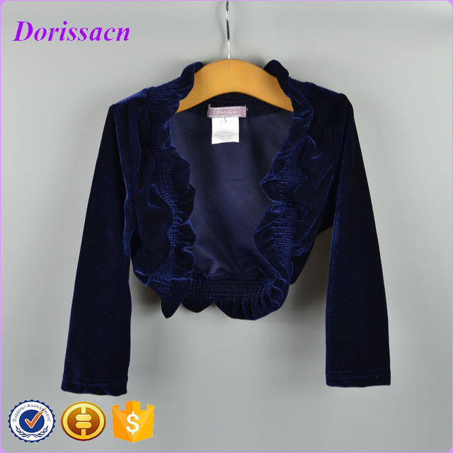 67e451d2b fashion royal blue velvet lace shrug bolero long sleeve baby girl ...
