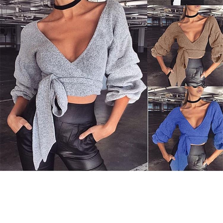 2018 fashion sexy V-neck autumn and winter warm bandage shirt bottoming shirt women's clothing (2)