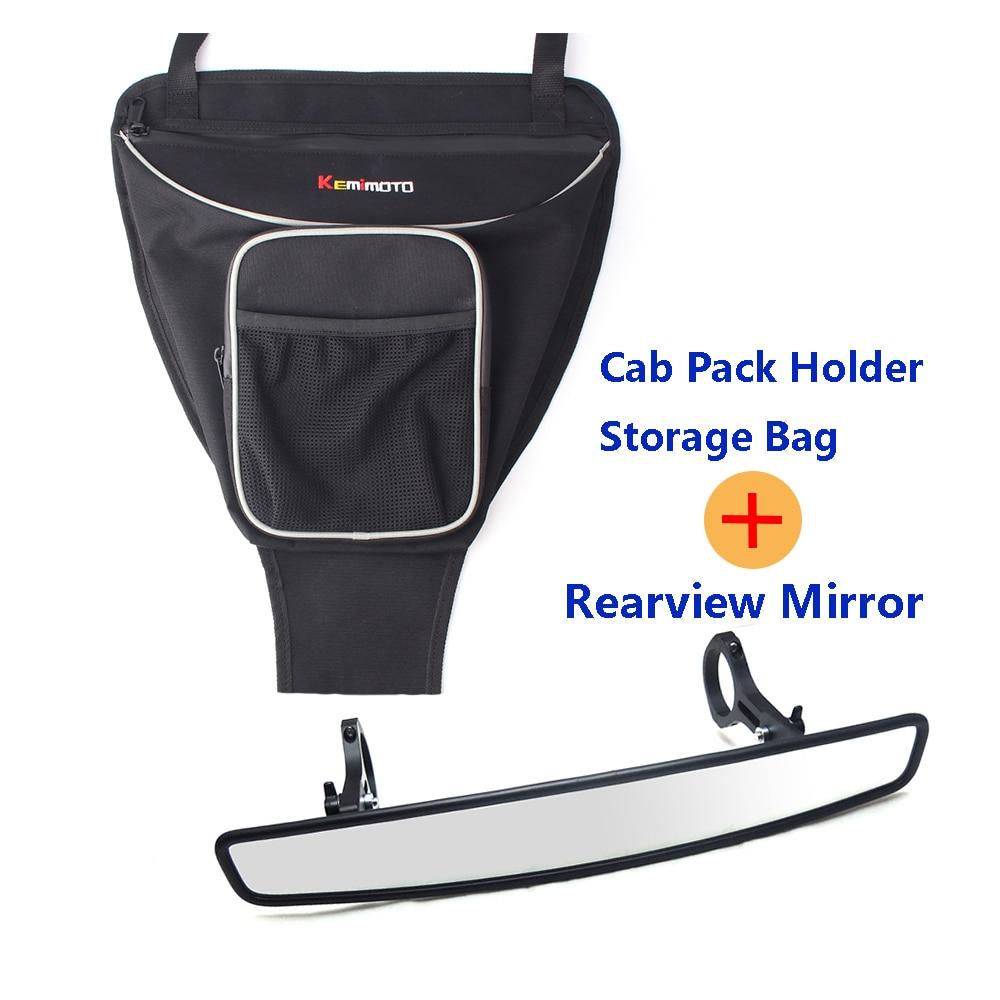 KEMiMOTO Cab Pack Holder Storage Bag UTV for Polaris Ranger RANGER RZR 800 RZR 570 800 XP 4 900 Centre mirror Rear view Mirror