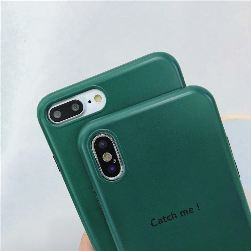 Cartoon green cat cat case for iphone X XS XR XS MAX fashion soft shell IMD For iphone 6 6s 7 8plus silicone back cover in Fitted Cases from Cellphones Telecommunications