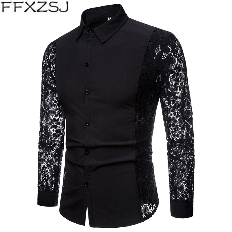 FFXZSJ Men Casual Shirts  Fashion Autumn Lace Sleeve Cotton Mens Long Sleeve High Quality Shirt Casual White Black Dress Shirts