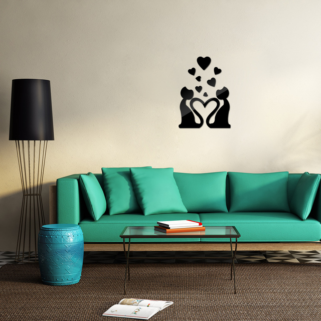 new 3d  sticker hot free shipping  love mirroracrylic modern wall stickers home decoration relief sofa background Pattern