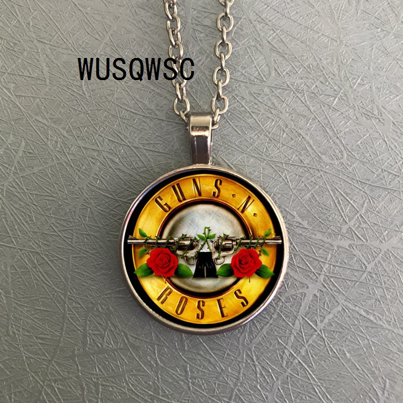 Mens necklace Hot Popular Rock Band Guns N Roses Art Picture Gothic Punk Glass Dome Pendant Necklace Long Pendant Jewelry Necklaces