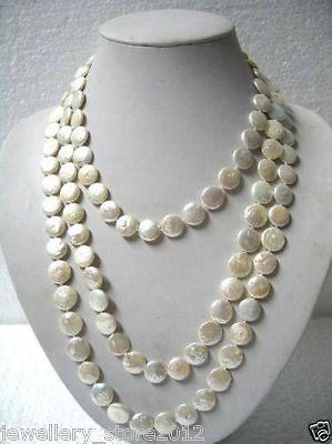 FREE SHIPPING>>@> Fast SHIPPING>>>Beautiful 11-13mm White Coin Pearl 60 Long Necklace NEW