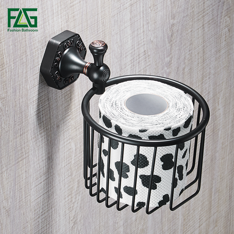 FLG Paper Holders ORB Brass Wall Shelf Toilet Basket Bathroom Accessories Paper Holder Sets Toilet Roll Holder