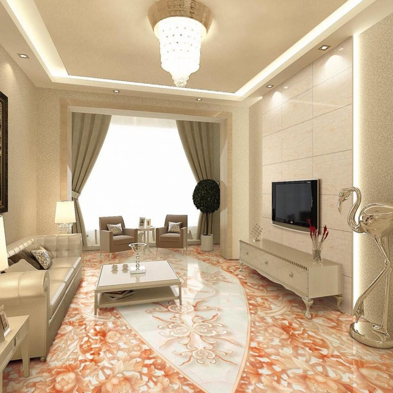 Free Shipping Marble relief Peony jade carving 3D floor stereo non-slip wear custom studio wallpaper thickened living room mural 3d printing claybank marble pattern non slip floor carpet